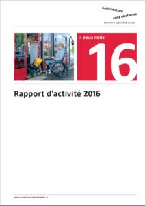 Rapport d'activités 2016, page de garde