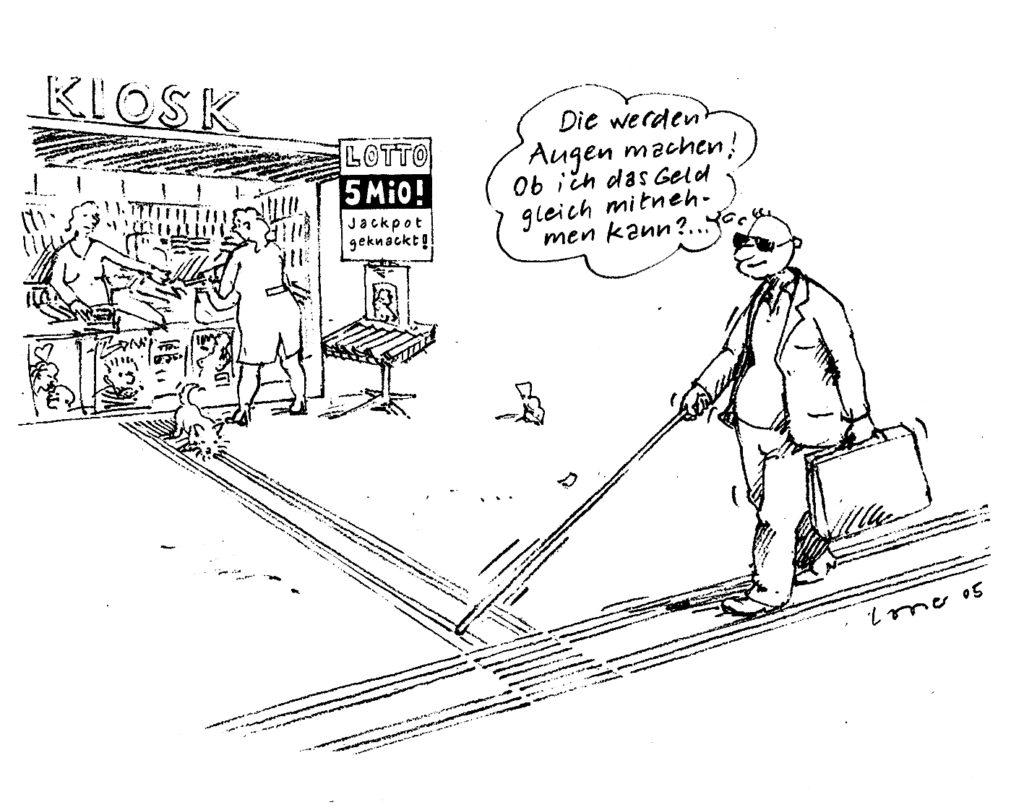comique: personne aveugle, gagnant de la loterie, s'approchant du kiosque sur une ligne de guidage pour récupérer les 5 millions...