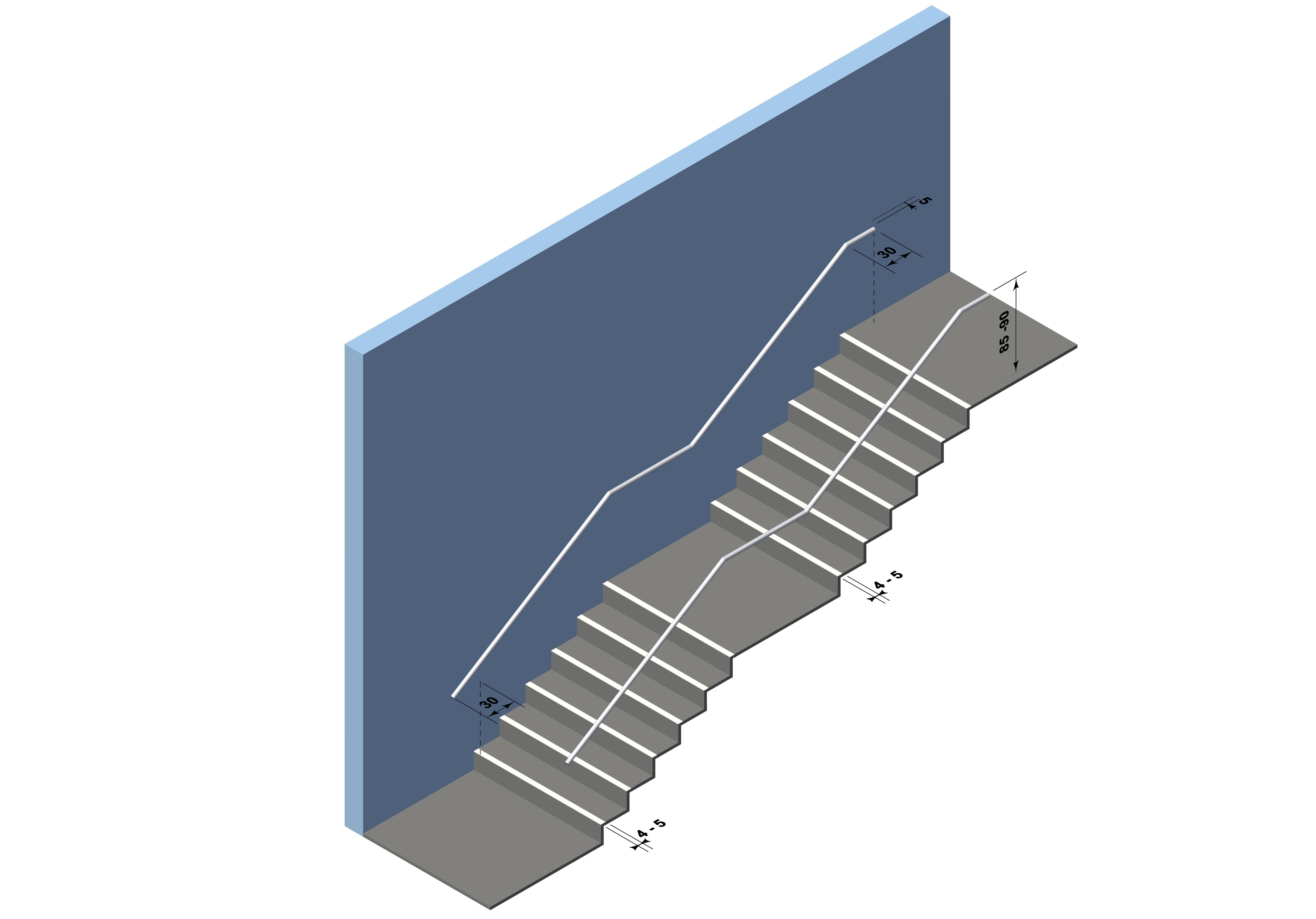 Treppenmarkierung Vorderkante / Marquage nez de marche