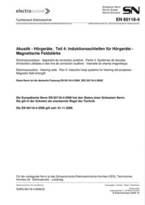 Norme SN EN 60118-4; feuille de titre / Titelblatt